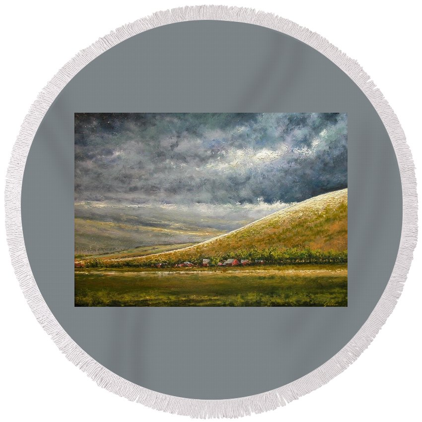 Landscape Round Beach Towel featuring the painting Lightburst-Jackson Hole by Jim Gola