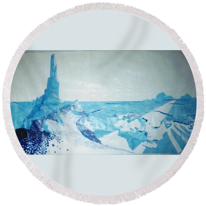 Landscape Round Beach Towel featuring the painting Line of Sight by A Robert Malcom