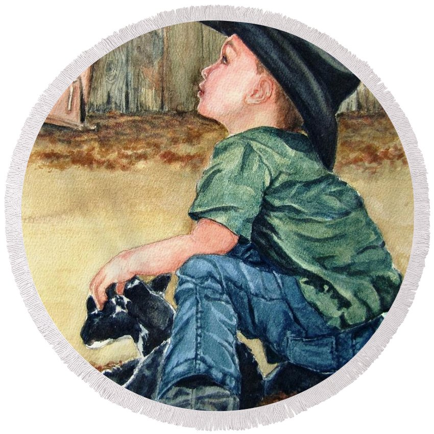 Children Round Beach Towel featuring the painting Little Ranchhand by Karen Ilari