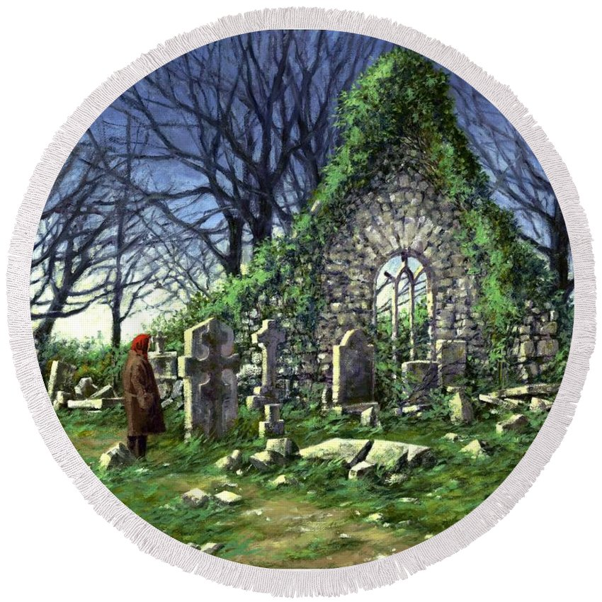 Landscape Round Beach Towel featuring the painting Londonderry Stones by Jim Gola