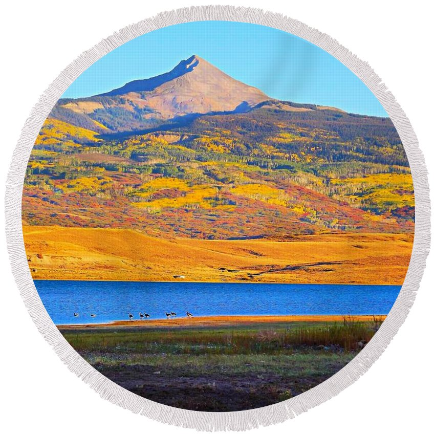 The Lone Cone Above The Reservoir Round Beach Towel featuring the digital art Lone Cone by Marimonti Reservoir by Annie Gibbons