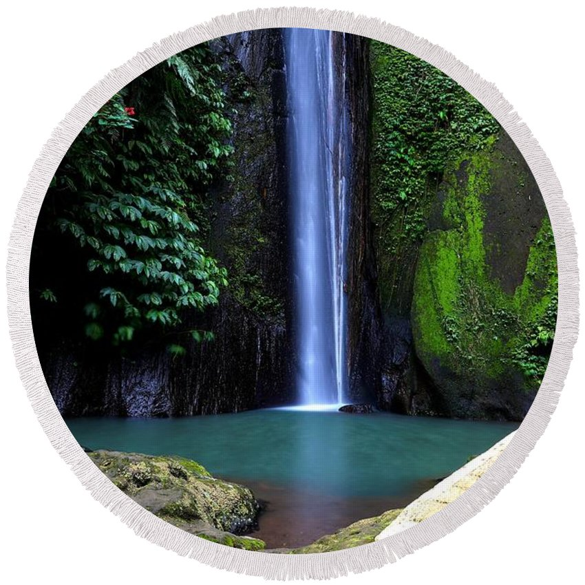 Waterfall Round Beach Towel featuring the digital art Lonely waterfall by Worldvibes1