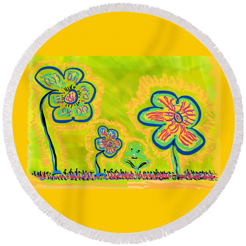 Spring Round Beach Towel featuring the drawing Looking for Spring by Pam Roth O'Mara