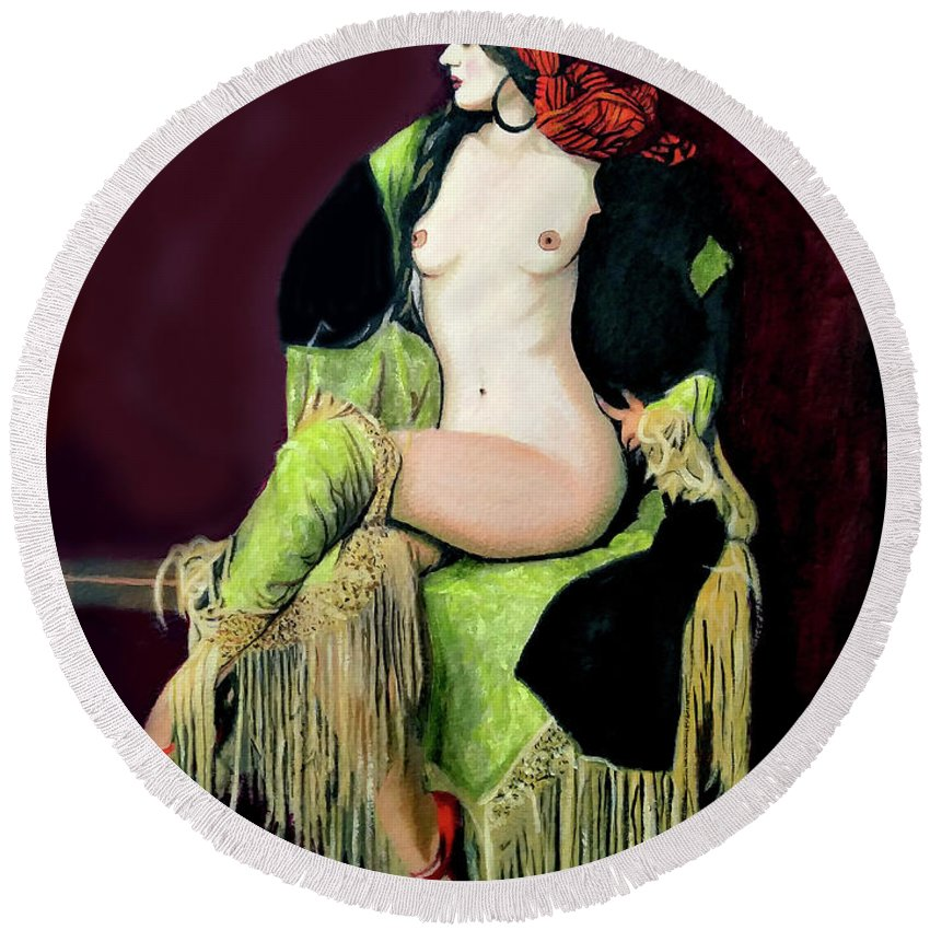 Women Round Beach Towel featuring the painting Looking Good by Jose Manuel Abraham