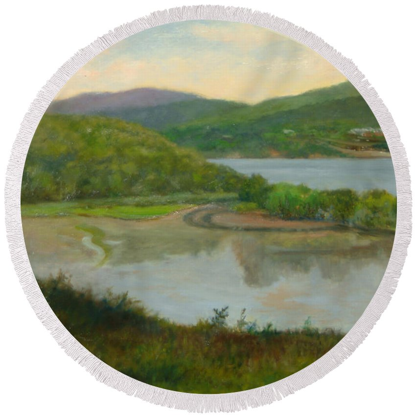 Landscape Round Beach Towel featuring the painting Looking South From St. Basil by Phyllis Tarlow