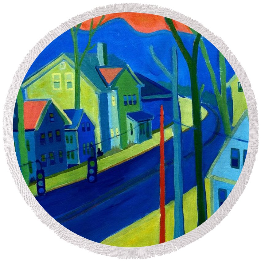 Cityscape Round Beach Towel featuring the painting Lowell Deluge by Debra Bretton Robinson