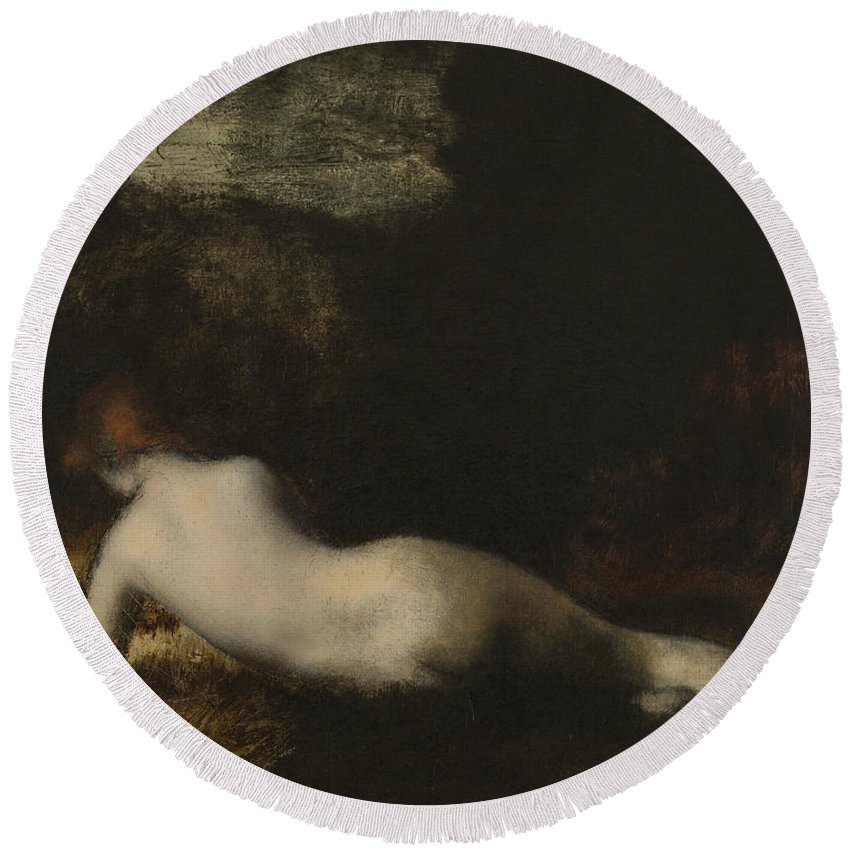 19th Century Painters Round Beach Towel featuring the painting Lying Nymph by Jean-Jacques Henner