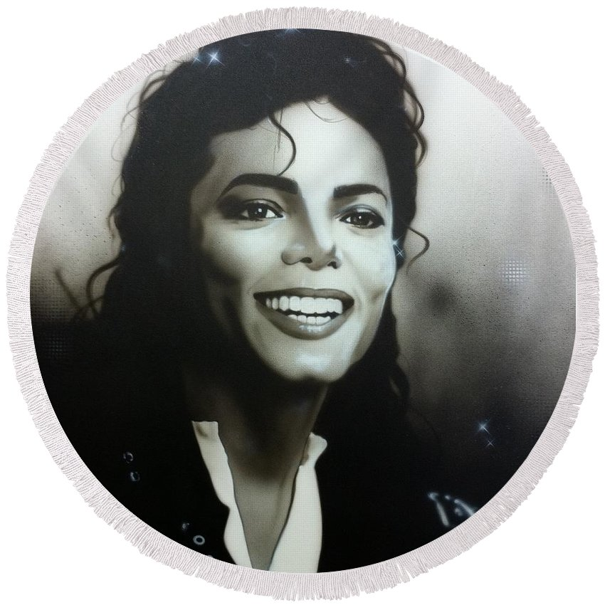Michael Jackson Round Beach Towel featuring the painting M. J. by Christian Chapman Art