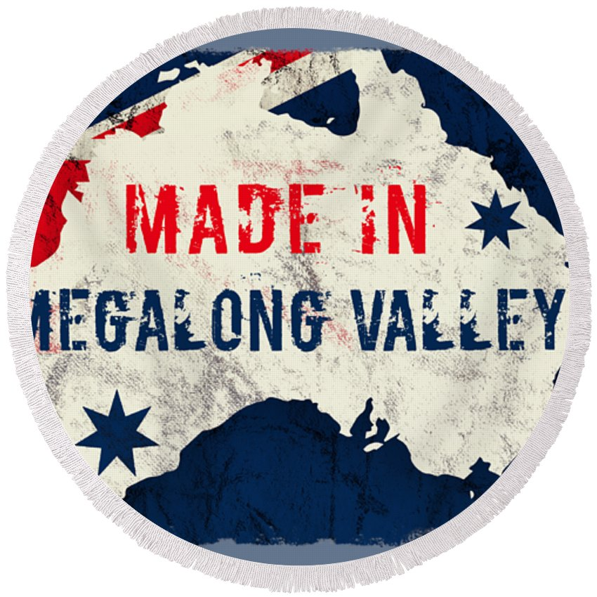 Megalong Valley Round Beach Towel featuring the digital art Made In Megalong Valley, Australia #megalongvalley #australia by TintoDesigns