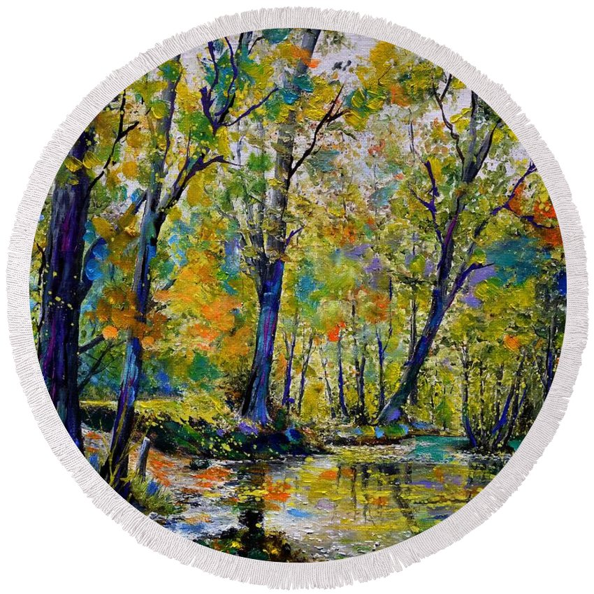 Landscape Round Beach Towel featuring the painting Magic river by Pol Ledent