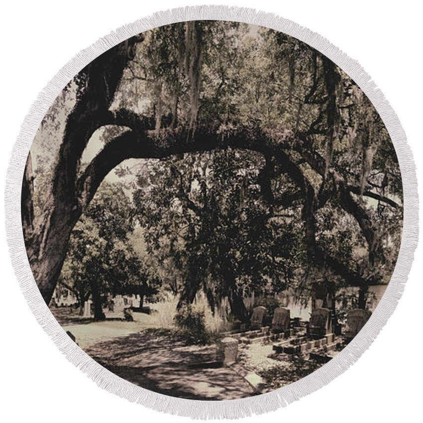 Castle Round Beach Towel featuring the photograph Magnolia Cemetery by James Christopher Hill