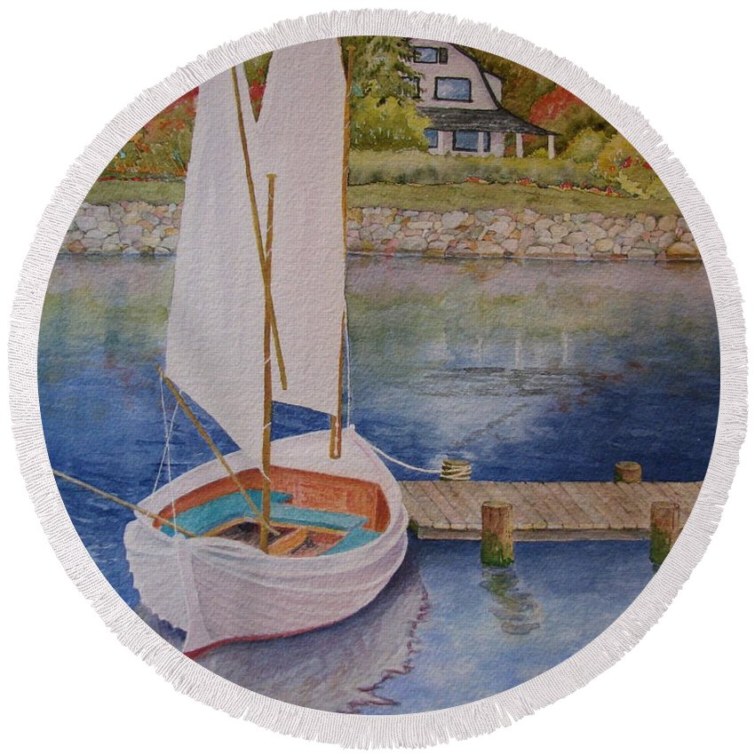Sailboat Round Beach Towel featuring the painting Maine Sail One by Mary Ellen Mueller Legault