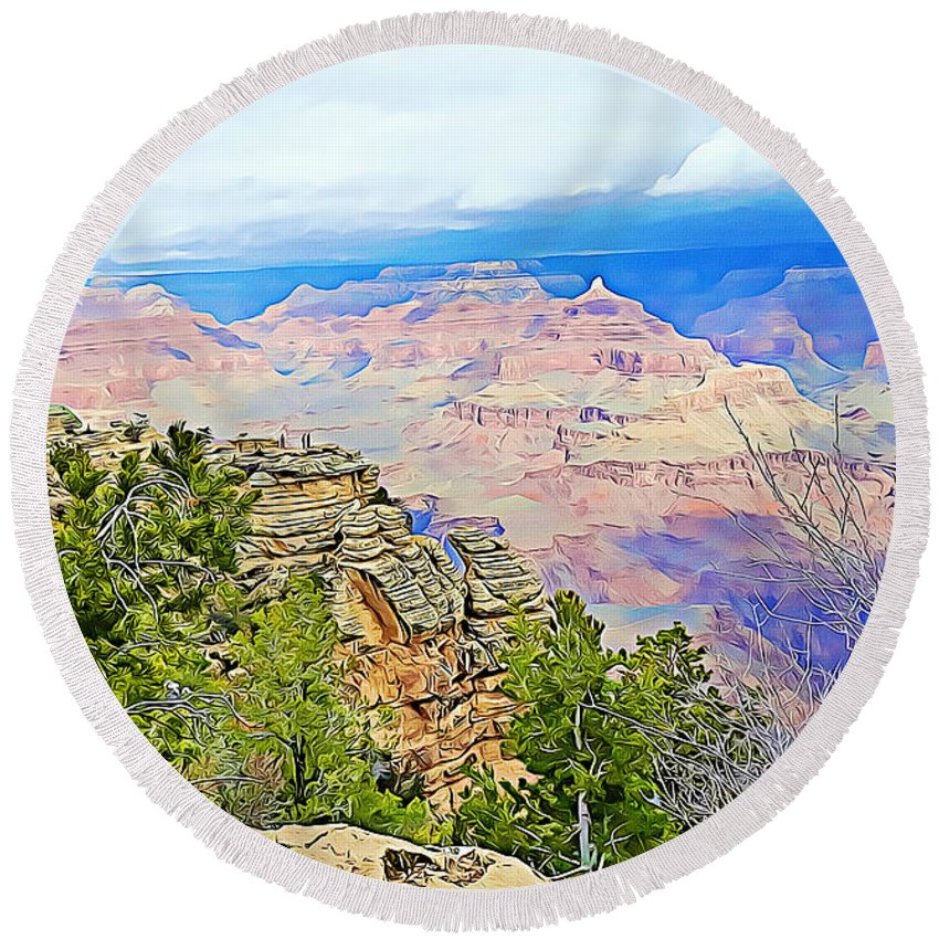 Grand Canyon Round Beach Towel featuring the mixed media Majestic Grand Canyon by Tracy Ruckman