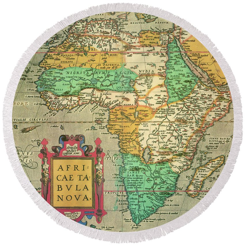 1595 Round Beach Towel featuring the drawing Map Of Africa, 1595 by Abraham Ortelius