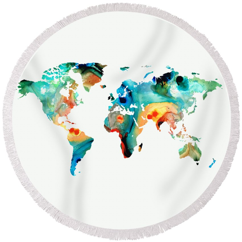 Map Round Beach Towel featuring the painting Map of The World 11 -Colorful Abstract Art by Sharon Cummings
