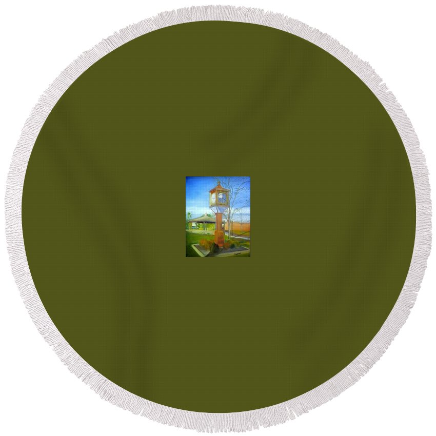 Maple Shade Round Beach Towel featuring the painting Maple Shade Clock by Sheila Mashaw