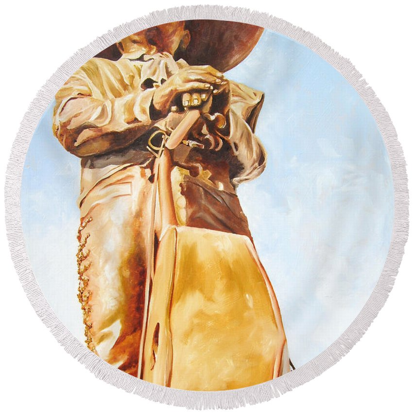 Mariachi Round Beach Towel featuring the painting Mariachi by Laura Pierre-Louis