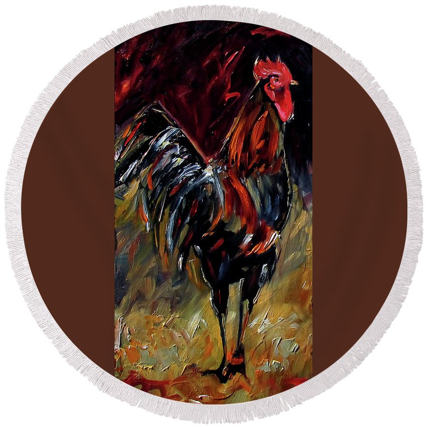 Rooster Art Round Beach Towel featuring the painting Mark by Debra Hurd