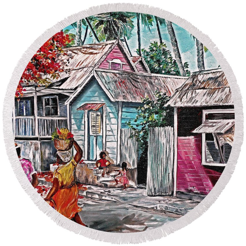 Market Women Painting Barbados Painting Islands Painting  Poinciana Painting Houses Painting Poinciana Painting Caribbean Painting Tropical Painting Round Beach Towel featuring the painting Marketday Barbados by Karin Dawn Kelshall- Best