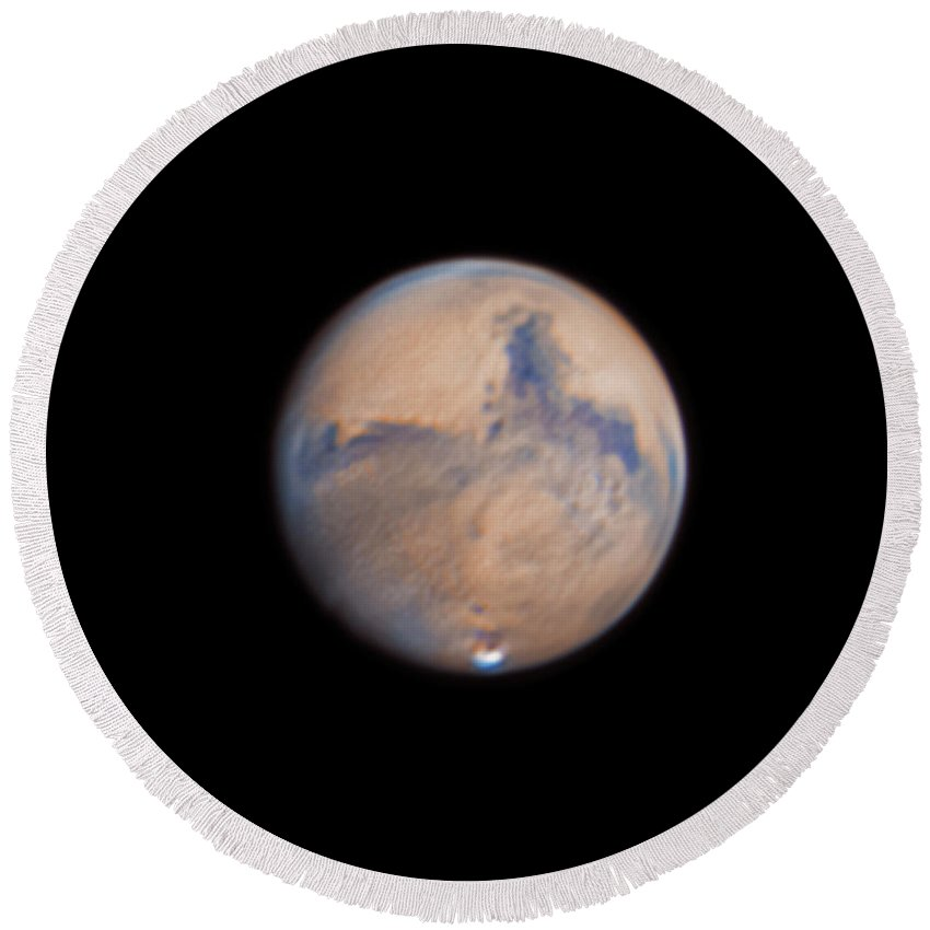 Mars Round Beach Towel featuring the photograph Mars from 31st October 2020 by Prabhu Astrophotography