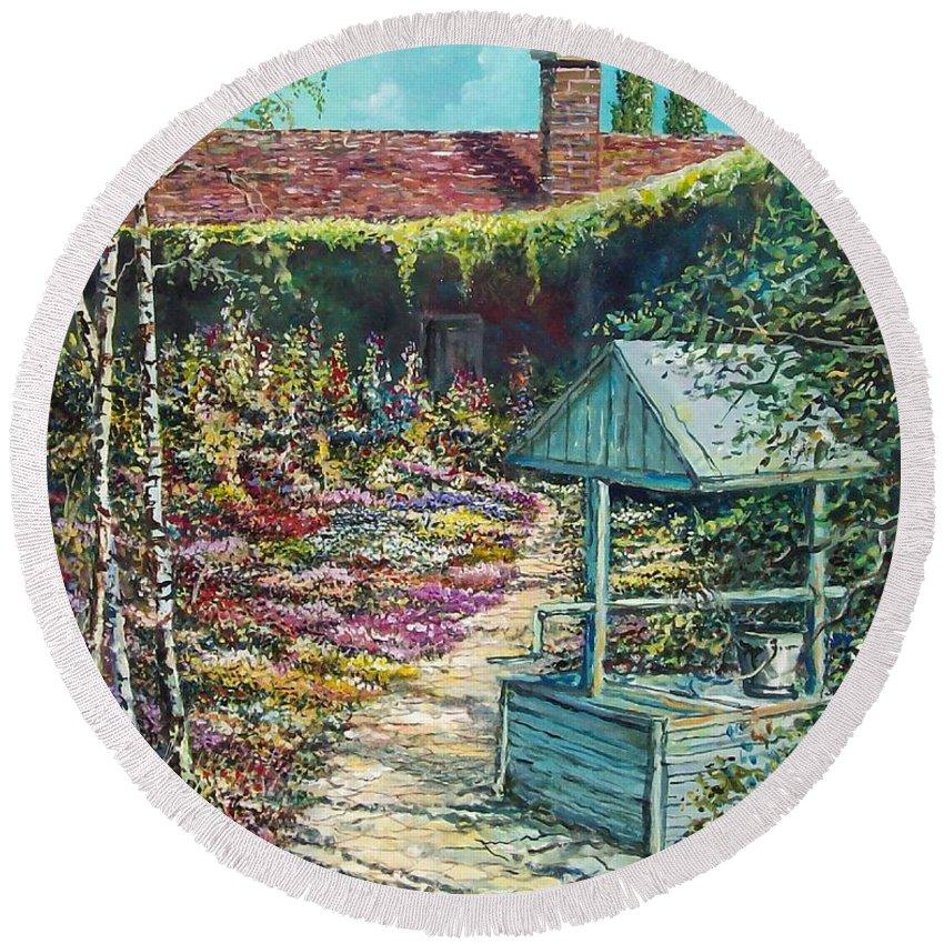 Garden Round Beach Towel featuring the painting Mary's Garden by Sinisa Saratlic