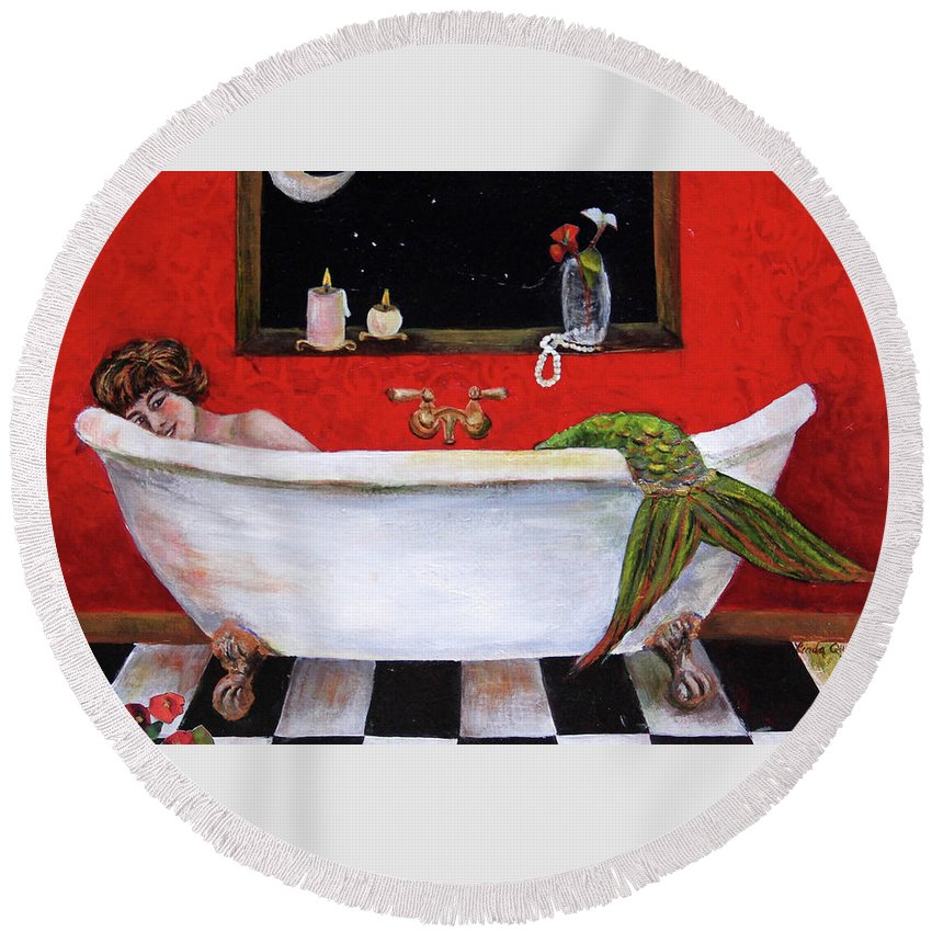 Mermaid Round Beach Towel featuring the painting Mermaid in Bathtub Taking a Moonlight Soak by Linda Queally by Linda Queally