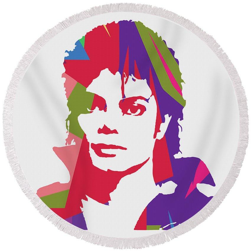 Michael Jackson Round Beach Towel featuring the digital art Michael Jackson 2 POP ART by Ahmad Nusyirwan