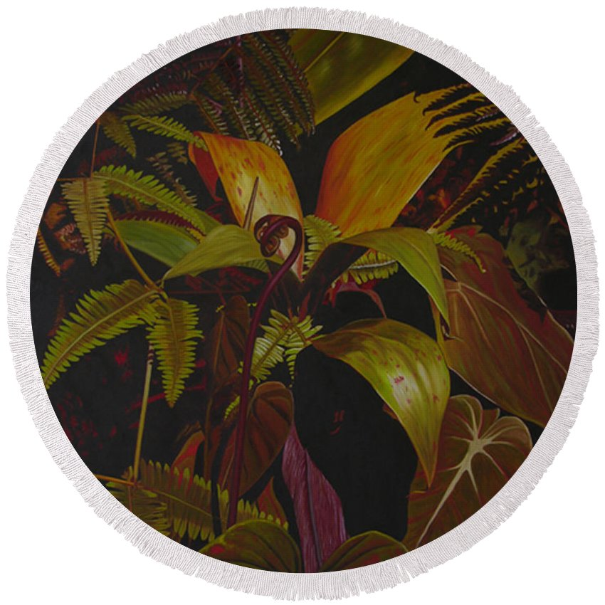 Plant Round Beach Towel featuring the painting Midnight in the garden by Thu Nguyen