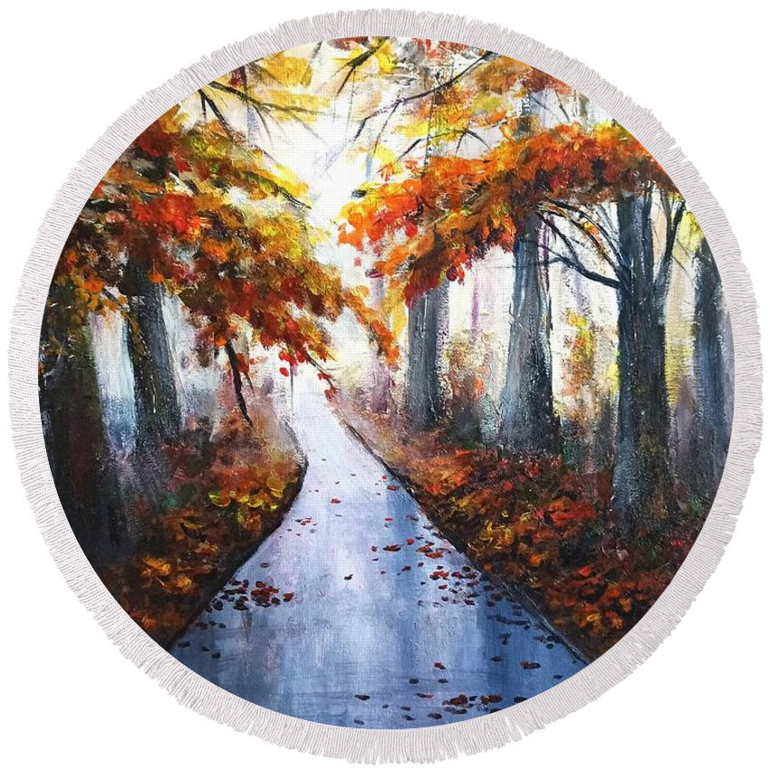 Autumn Road Round Beach Towel featuring the painting Misty Fall wood by Natalja Picugina