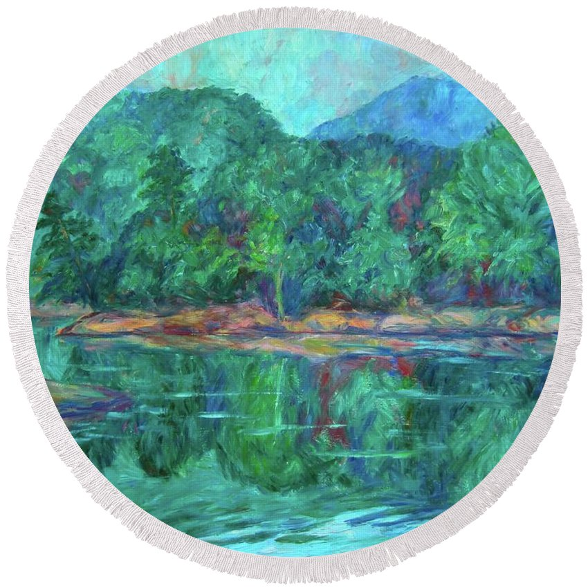 Landscape Round Beach Towel featuring the painting Misty Morning at Carvins Cove by Kendall Kessler