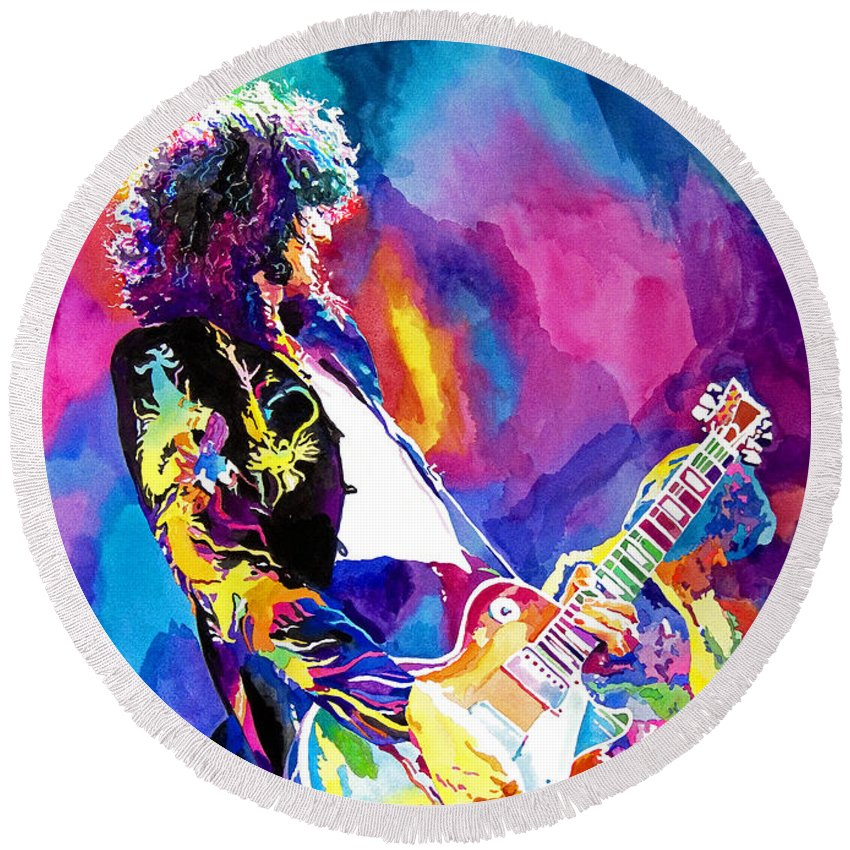Jimmy Page Artwork Round Beach Towel featuring the painting Monolithic Riff - Jimmy Page by David Lloyd Glover