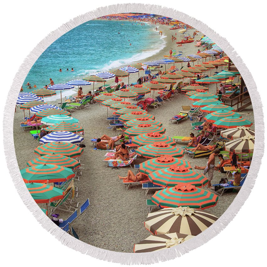 Cinque Round Beach Towel featuring the photograph Monterosso Beach by Inge Johnsson