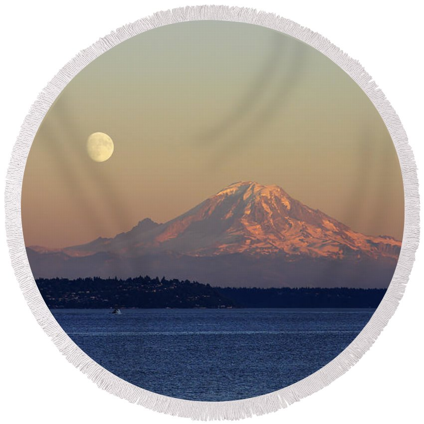 3scape Round Beach Towel featuring the photograph Moon Over Rainier by Adam Romanowicz