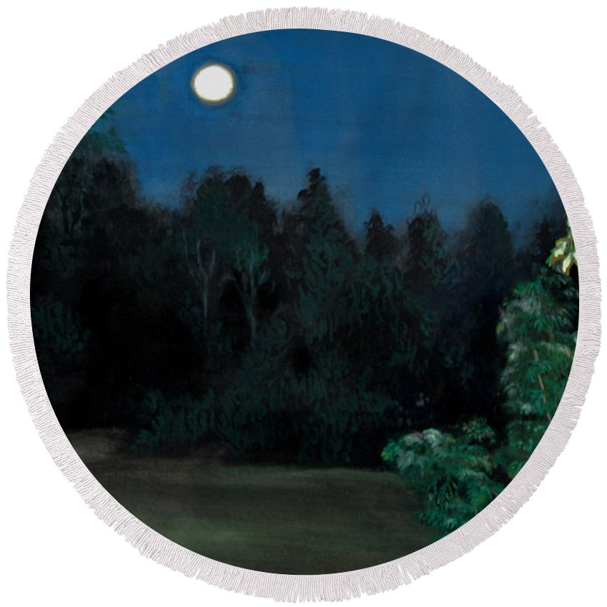 Moon Round Beach Towel featuring the painting Moon Shadow by Susan Moore