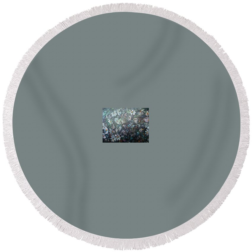 Floral Daisies Abstract Round Beach Towel featuring the painting Moonlight And Daisies.. by Karin Dawn Kelshall- Best