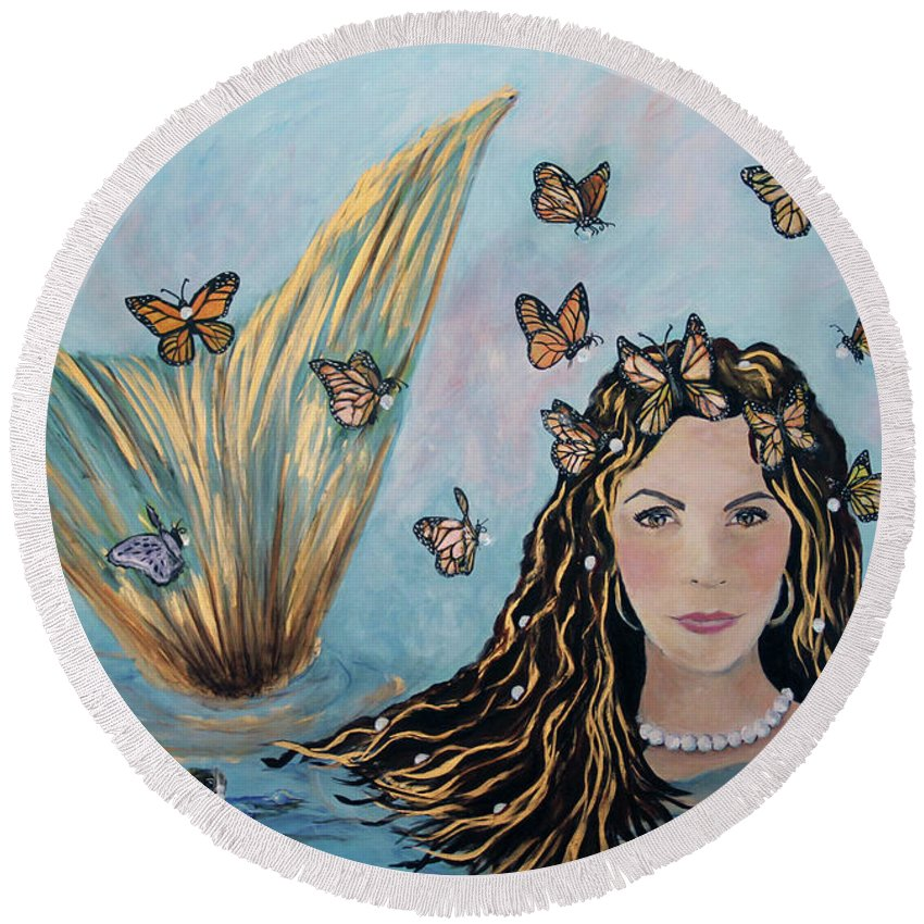 Mermaid Round Beach Towel featuring the painting More Precious Than Gold by Linda Queally