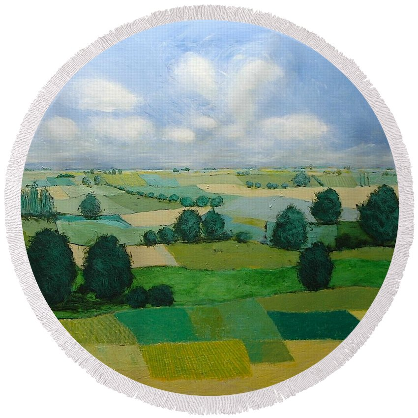 Landscape Round Beach Towel featuring the painting Morning Calm by Allan P Friedlander