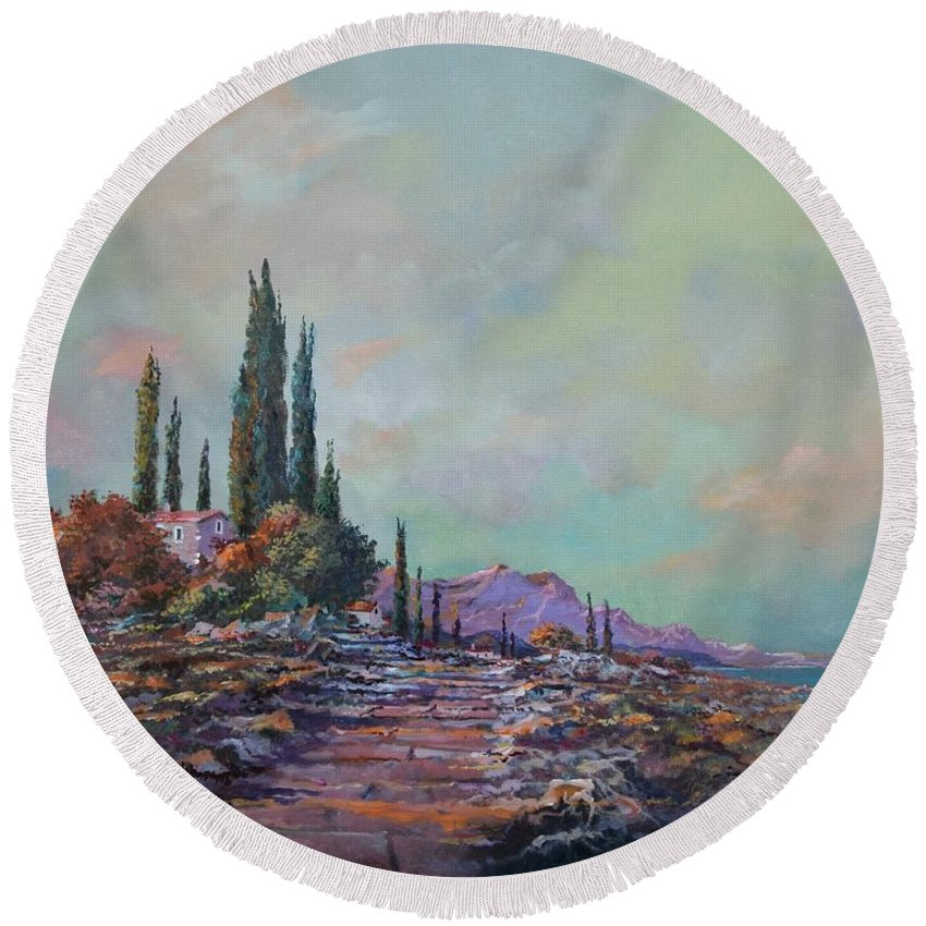 Seascape Round Beach Towel featuring the painting Morning Mist by Sinisa Saratlic