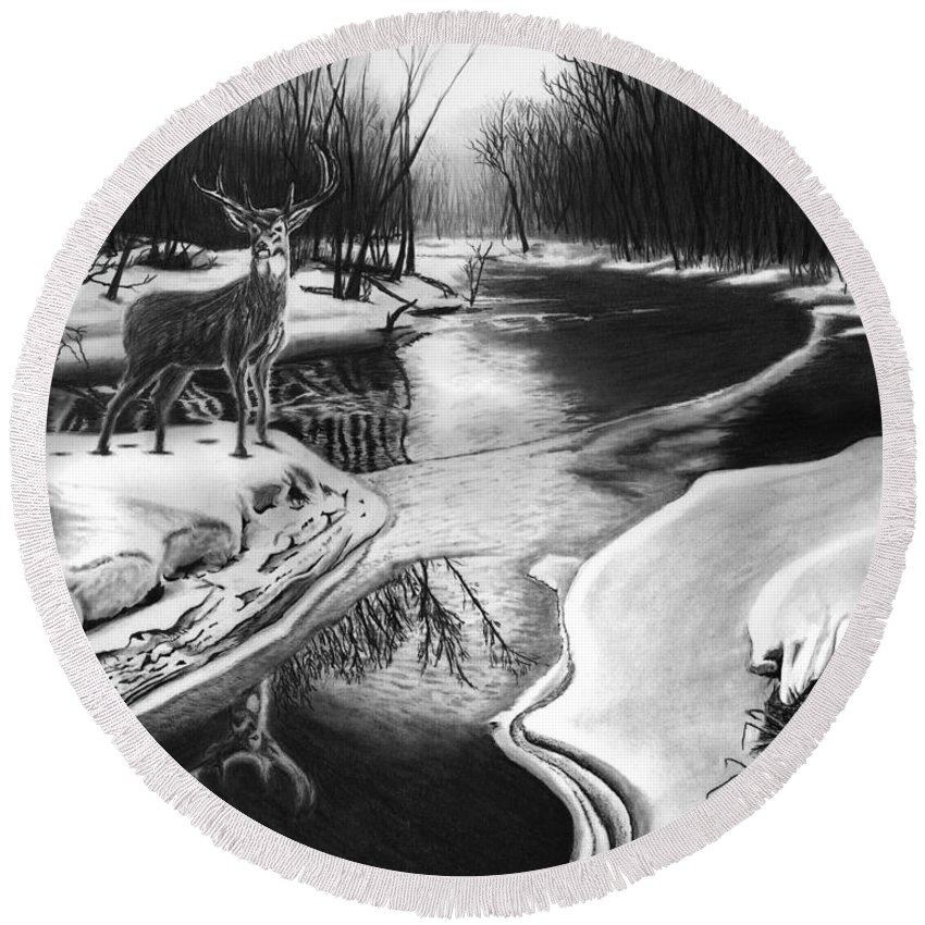 Morning Thaw Round Beach Towel featuring the drawing Morning Thaw by Peter Piatt