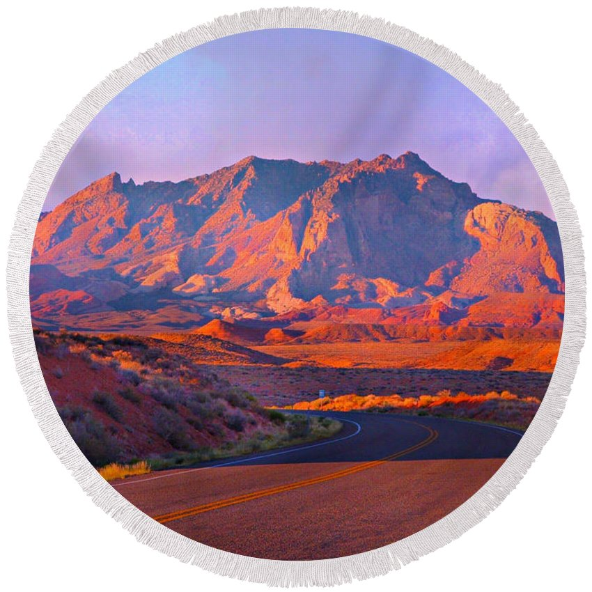 Desert Mountain With Evening Colors Round Beach Towel featuring the digital art Mountain near Ticaboo Ut. by Annie Gibbons