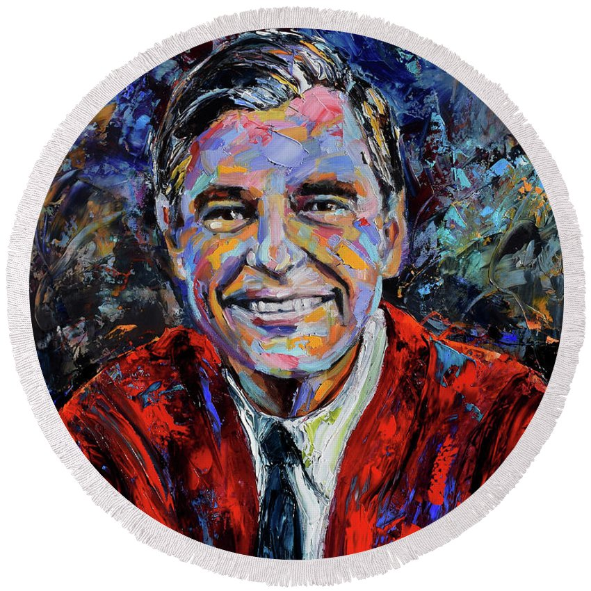 Mister Rogers Round Beach Towel featuring the painting Mr. Roger's neighborhood by Debra Hurd
