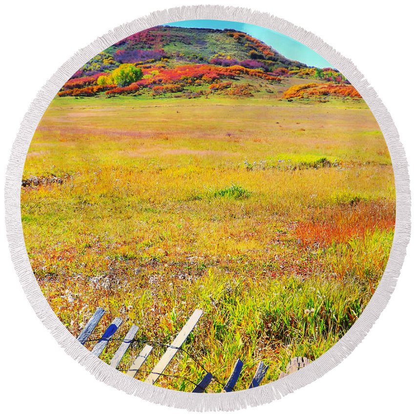 Multi Colored Hues In This Fall Picture Up On The High Plateau Round Beach Towel featuring the digital art Multi colored fall comes to the High Plateau by Annie Gibbons