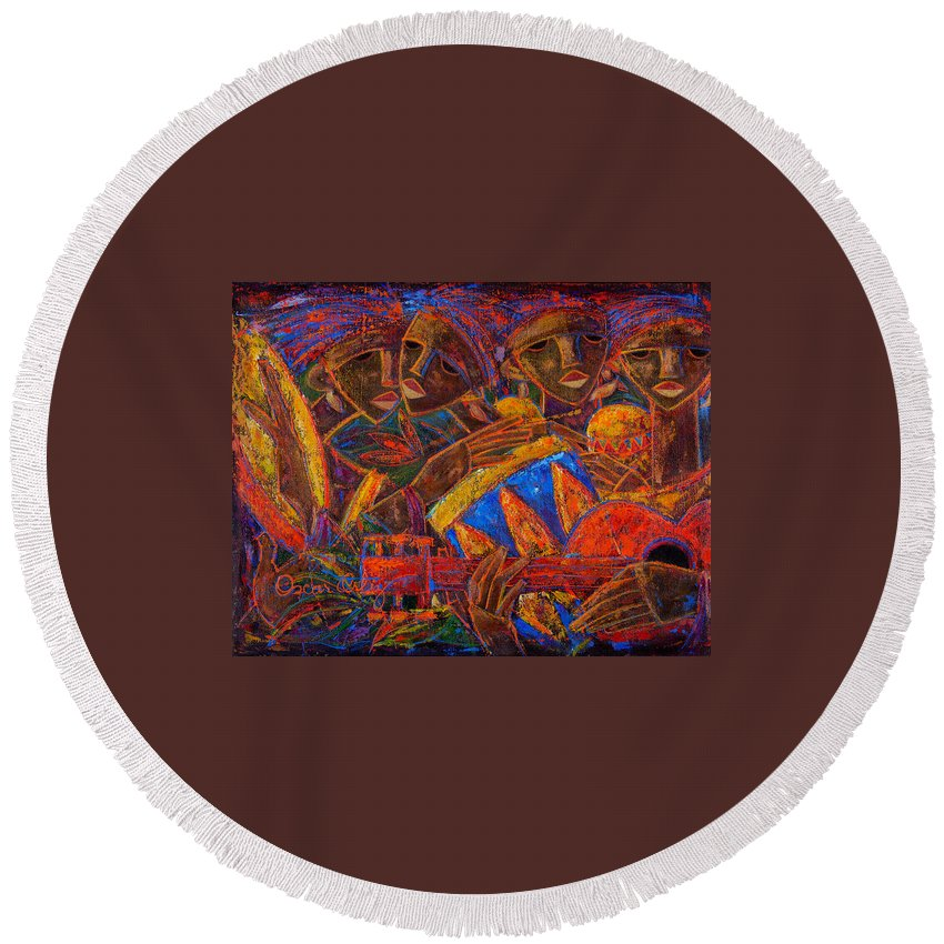Puerto Rico Round Beach Towel featuring the painting Musas Del Caribe by Oscar Ortiz