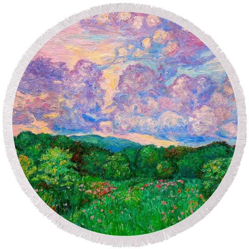 Landscape Round Beach Towel featuring the painting Mushroom Clouds by Kendall Kessler