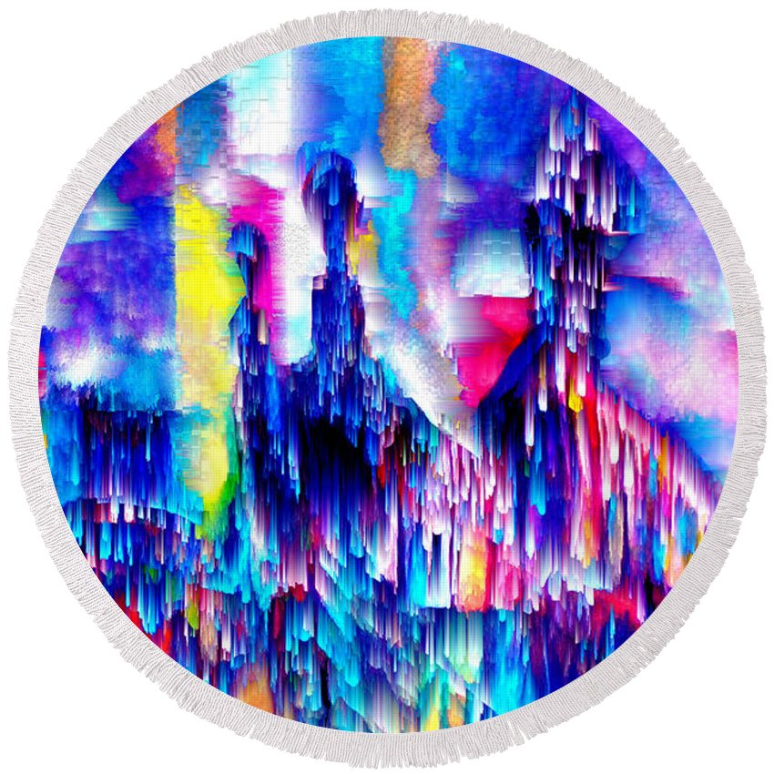 City Lights Round Beach Towel featuring the mixed media Music of the City by Seth Weaver