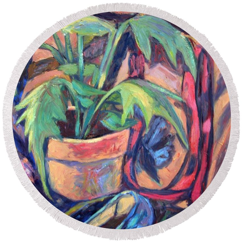 Plant Round Beach Towel featuring the painting My Old Shoe by Kendall Kessler