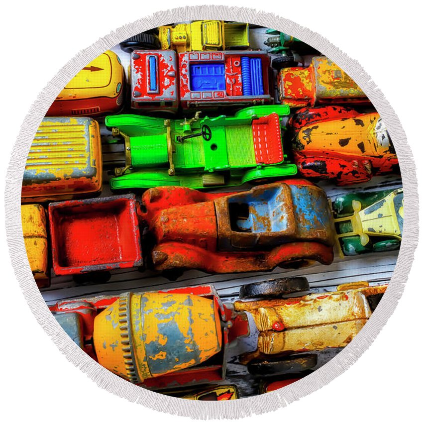 Old Round Beach Towel featuring the photograph My Old Toy Cars by Garry Gay