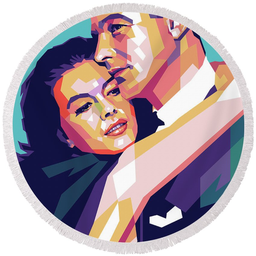 Natalie Round Beach Towel featuring the digital art Natalie Wood And Gene Kelly by Stars on Art