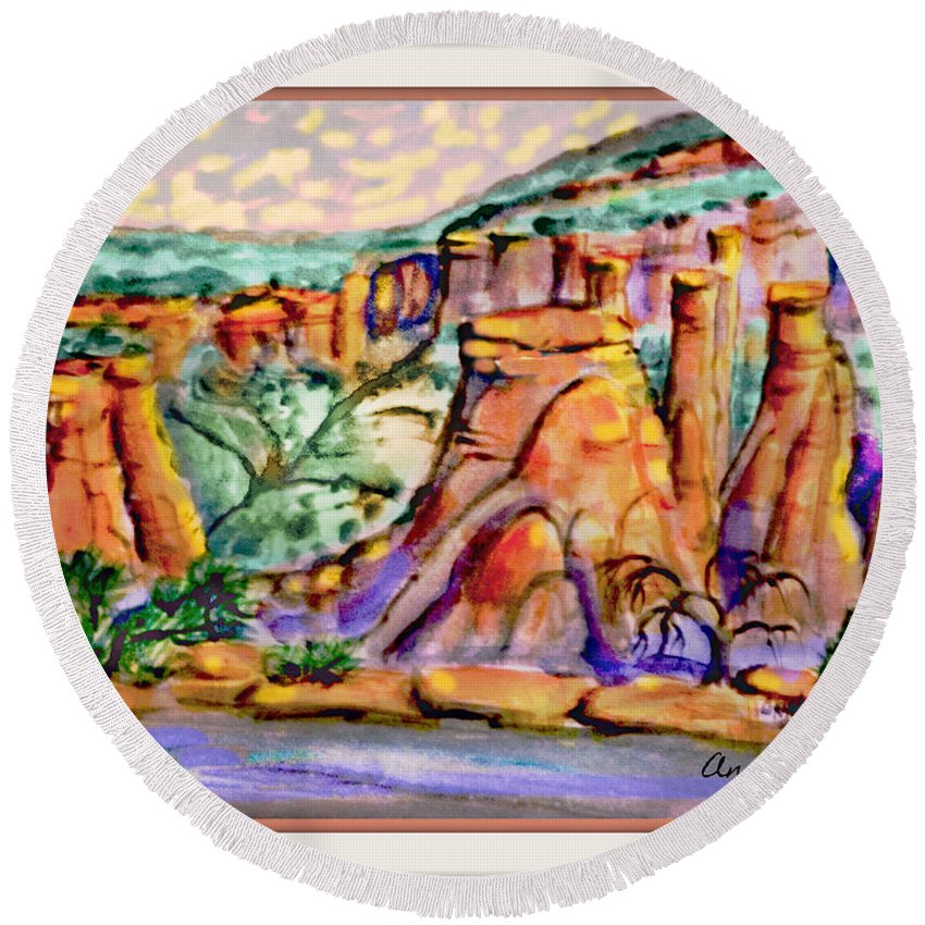 Digital Rework Of Study Pice For Final Painting Which Allowed Me To High Light The Sky With More Brightness Round Beach Towel featuring the painting National Monument by Annie Gibbons