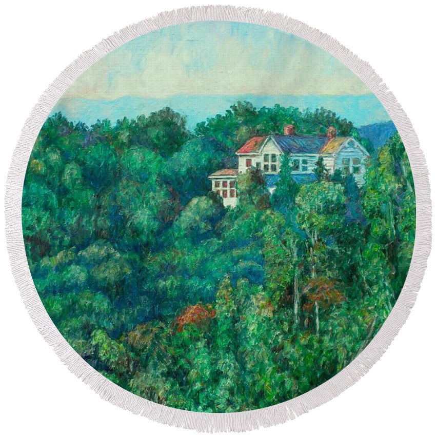 Landscape Round Beach Towel featuring the painting Near Memorial Bridge by Kendall Kessler